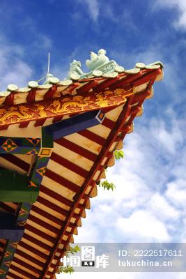 中式屋檐一角图片